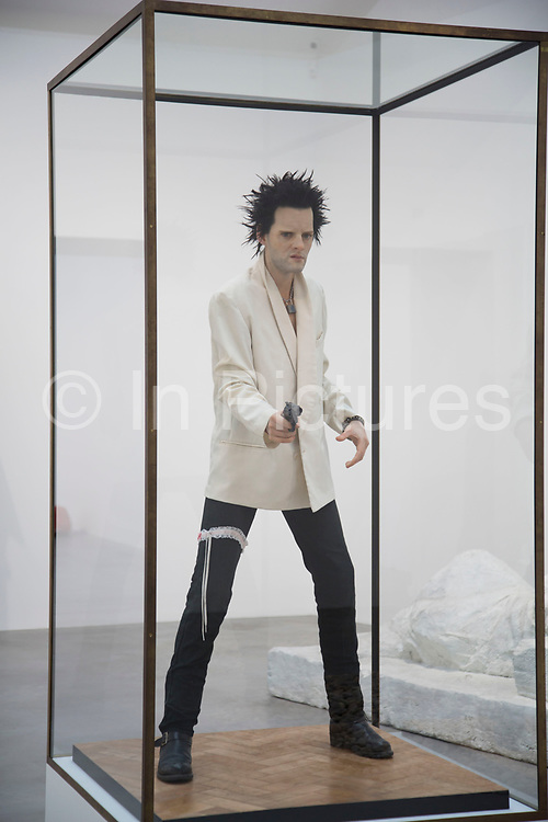 Contemporary art by Gavin Turk in his Who What When Where How & Why, retrospective show at the Newport Street Gallery in London, England, United Kingdom. Pop. 1993. Waxwork of the artist as Sid Vicious. (photo by Mike Kemp/In Pictures via Getty Images)