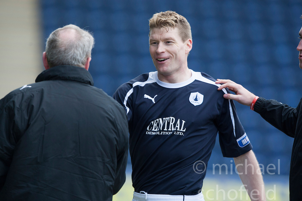 Falkirk's Darren Dods subbed after his goal..Falkirk 4 v 0 Cowdenbeath, 6/4/2013..©Michael Schofield..