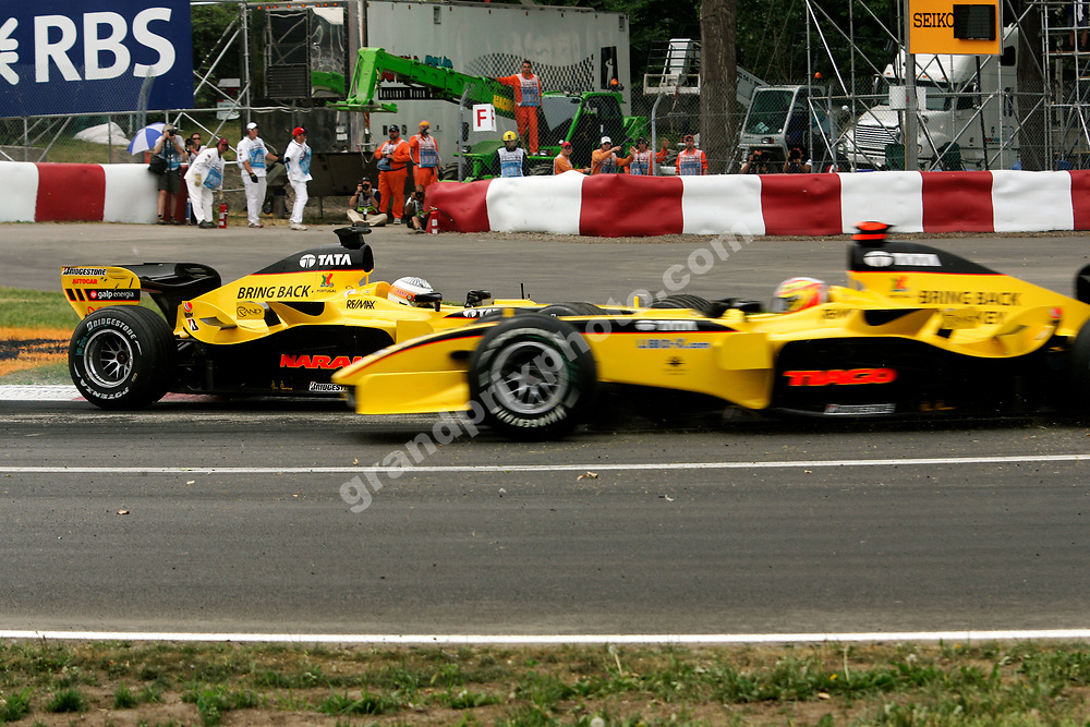 Jordan-Toyota drivers Narain Karthikeyan and Tiago Monteiro after the Indian´s spin in the 2005 Canadian Grand Prix at the Circuit Gilles Villeneuve in Montreal. Photo: Grand Prix Photo