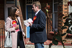 © Licensed to London News Pictures. 02/09/2015. London, UK. Labour leadership contender Liz Kendall MP campaigning with Stephen Mann (right) who is standing in the Noel Park Ward local by-election. Photo credit : James Gourley/LNP