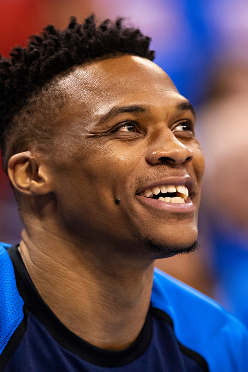 OKLAHOMA CITY, OK - APRIL 21: Russell Westbrook #0 of the Oklahoma City Thunder warms up before a game against the Portland Trail Blazers during Round One Game Three of the 2019 NBA Playoffs on April 21, 2019 at Chesapeake Energy Arena in Oklahoma City, Oklahoma  NOTE TO USER: User expressly acknowledges and agrees that, by downloading and or using this photograph, User is consenting to the terms and conditions of the Getty Images License Agreement.  The Trail Blazers defeated the Thunder 111-98.  (Photo by Wesley Hitt/Getty Images) *** Local Caption *** Russell Westbrook