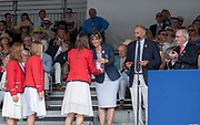 """Henley on Thames, United Kingdom, 8th July 2018, Sunday, Winners, """"The Diamond Jubliee Challenge Cup"""", """" Y Quad Cities Rowing Association, USA."""", """"Fifth day"""", of the annual,  """"Henley Royal Regatta"""", Henley Reach, River Thames, Thames Valley, England, © Peter SPURRIER, Prize giver, Dame Katherine GRAINGER,"""