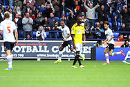 Bolton Wanderers' Neil Danns celebrates after scoring his teams 1st goal. Skybet football league championship match, Bolton Wanderers v Brentford at the Macron stadium in Bolton, Lancs on Saturday 25th October 2014.<br /> pic by Chris Stading, Andrew Orchard sports photography.