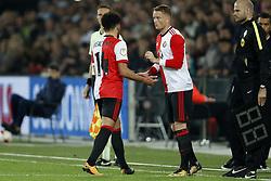 (L-R) Bilal Basacikoglu of Feyenoord, Sam Larsson of Feyenoord during the Dutch Eredivisie match between Feyenoord Rotterdam and NAC Breda at the Kuip on September 23, 2017 in Rotterdam, The Netherlands