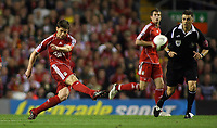 Photo: Paul Thomas.<br /> Liverpool v Newcastle United. The Barclays Premiership. 20/09/2006.<br /> <br /> Xabi Alonso of Liverpool scores a long range goal.