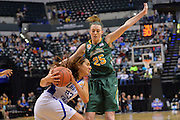 April 4, 2016; Indianapolis, Ind.; Jessica Madison guards Kelsey Hoppel in the NCAA Division II Women's Basketball National Championship game at Bankers Life Fieldhouse between UAA and Lubbock Christian. The Seawolves lost to the Lady Chaps 78-73.