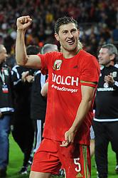 Caption Correction Ben Davies of Wales celebrates qualifying for Euro 2016 - Mandatory byline: Dougie Allward/JMP - 07966 386802 - 13/10/2015 - FOOTBALL - Cardiff City Stadium - Cardiff, Wales - Wales v Andorra - European Qualifier 2016 - Group B
