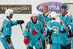Team Mufloni Tolmin celebrate goal at quarter final match of IZS Masters 2011 inline hockey between DPH Itaksport.com Kranj and Mufloni Tolmin, on June 4, 2011 in Sportni park, Horjul, Slovenia. (Photo by Matic Klansek Velej / Sportida)