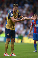 Olivier Giroud of Arsenal reacts to an officials decision. Barclays Premier league match, Crystal Palace v Arsenal at  Selhurst Park in London on Sunday 16th August 2015.<br /> pic by John Patrick Fletcher, Andrew Orchard sports photography.