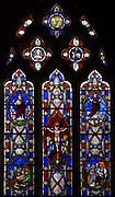 Mid nineteenth century stained glass window, All Saints church, Yatesbury, Wiltshire, England, UK designed by Miss Monck
