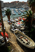 Elevated view of ship-building yard and harbour, Dubrovnik old town, Croatia