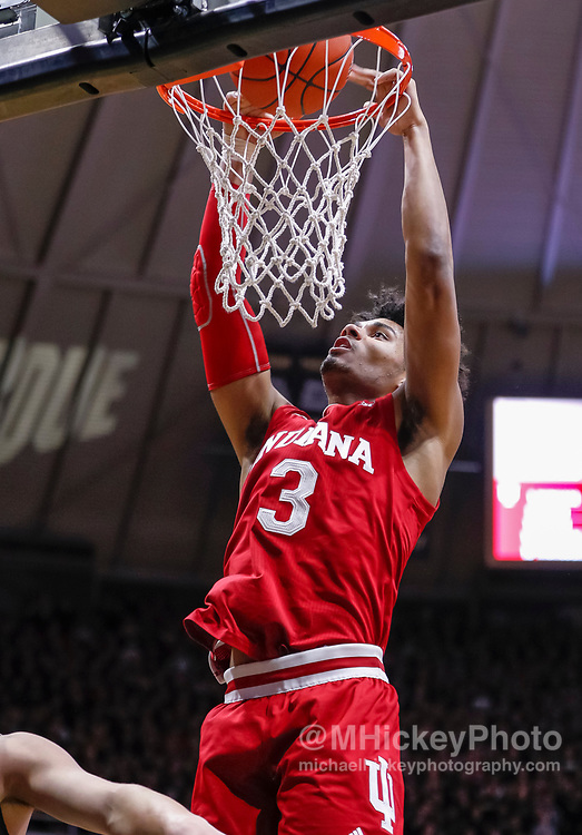 WEST LAFAYETTE, IN - JANUARY 19: Justin Smith #3 of the Indiana Hoosiers dunks the ball during the game against the Purdue Boilermakers at Mackey Arena on January 19, 2019 in West Lafayette, Indiana. (Photo by Michael Hickey/Getty Images) *** Local Caption *** Justin Smith