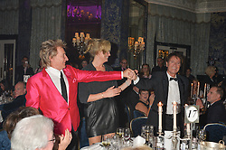 Left to right, SIR ROD STEWART, LADY STEWART and SIR CLIFF RICHARD at the annual PINKTOBER Gala presented by Hard Rock Heals at The Dorchester, Park Lane, London on 14th October 2016.  The annual event raises money for The Caron Keating Foundation.