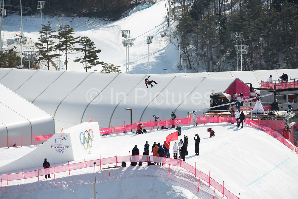 Carlos Garcia Knight, New Zeland, during the mens snowboard big air qualification practice at the Pyeongchang 2018 Winter Olympics on February 21st 2018, at the Alpensia Ski Jumping Centre in Pyeongchang-gun, South Korea