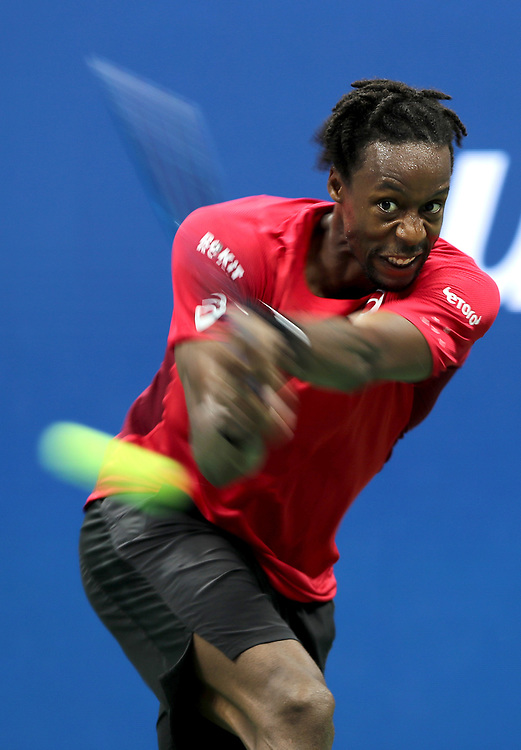 NEW YORK, NEW YORK - SEPTEMBER 04: Gael Monfils of France returns a shot during his Men's Singles quarterfinal match against Matteo Berrettini of Italy on day ten of the 2019 US Open at the USTA Billie Jean King National Tennis Center on September 04, 2019 in the Queens borough of New York City. (Photo by Elsa/Getty Images)