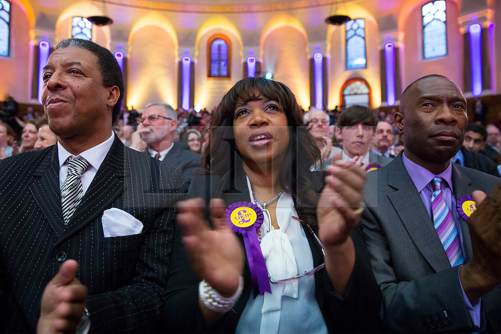 "***LNP BEST OF WEEK SELECTION*** © licensed to London News Pictures. London, UK 07/05/2014. UKIP supporters listening Nigel Farage's speech that announces UKIP is not a ""racist"" party at Emmanuel Centre in central London on Wednesday, May 7, 2014. Photo credit: Tolga Akmen/LNP"