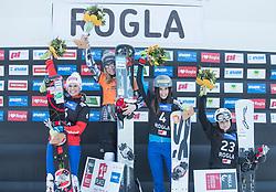 Podium: 1.st Ledecka Ester, 2.nd Riegler Claudia, 3nd. Dujmovits Julia, 4th. Kotnik Gloria / FIS snowboarding world cup race in Rogla (SI / SLO) | GS on January 20, 2018, in Jasna Ski slope, Rogla, Slovenia. Photo by Urban Meglic / Sportida