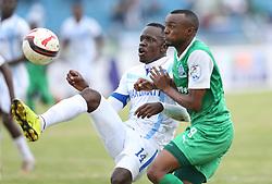 Jacques Tuiysenge (R) of Gor Mahia tackles Kennedy Onyango of Nakumatt FC during their Sportpesa Premier League tie at Nyayo Stadium in Nairobi on July 30, 2017. Gor won 2-0. Photo/Fredrick Omondi/www.pic-centre.com(KENYA)