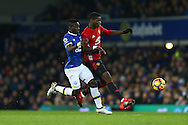 Paul Pogba of Manchester United gets in front of Idrissa Gueye of Everton. Premier league match, Everton v Manchester United at Goodison Park in Liverpool, Merseyside on Sunday 4th December 2016.<br /> pic by Chris Stading, Andrew Orchard sports photography.