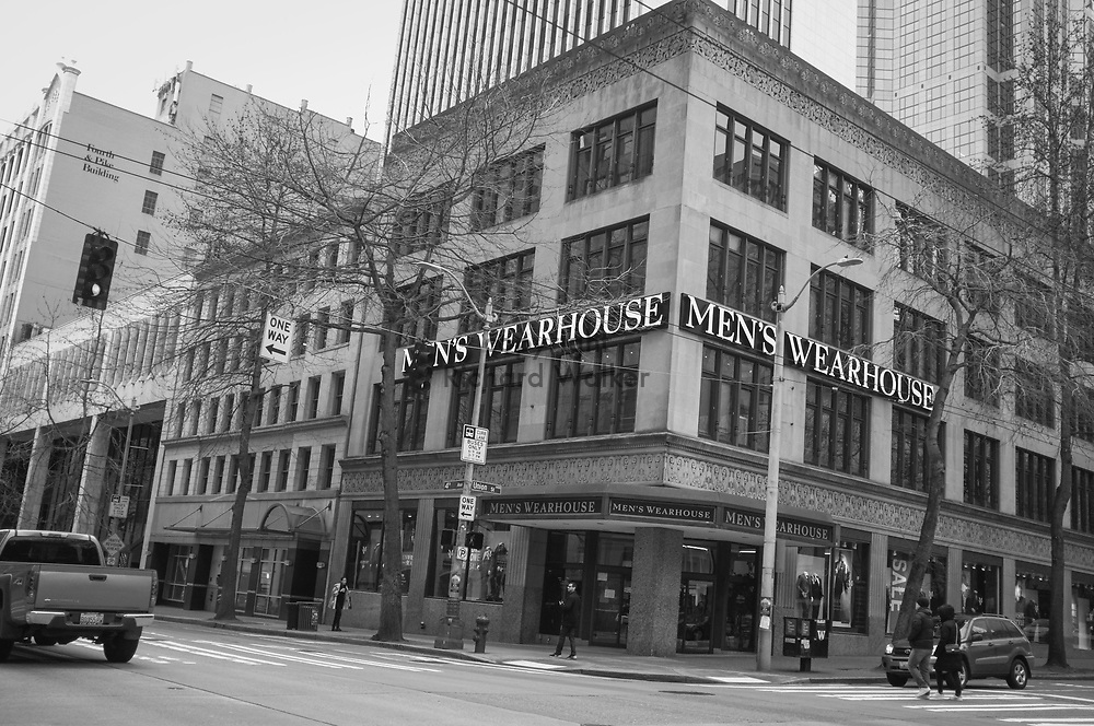 2017 MARCH 05 - Men's Wearhouse at the corner of 4th Ave and Union St, downtown, Seattle, WA, USA. By Richard Walker