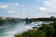 View of American Falls, a part of Niagara Falls, from Goat Island, Buffalo, New York, USA.