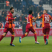 Galatasaray's Selcuk Inan (C) celebrate his goal with team mate during their Turkish Superleague soccer match Kasimpasa SK between Galatasaray at the Recep Tayyip Erdogan stadium in Istanbul Turkey on Saturday 21 March 2015. Photo by Aykut AKICI/TURKPIX