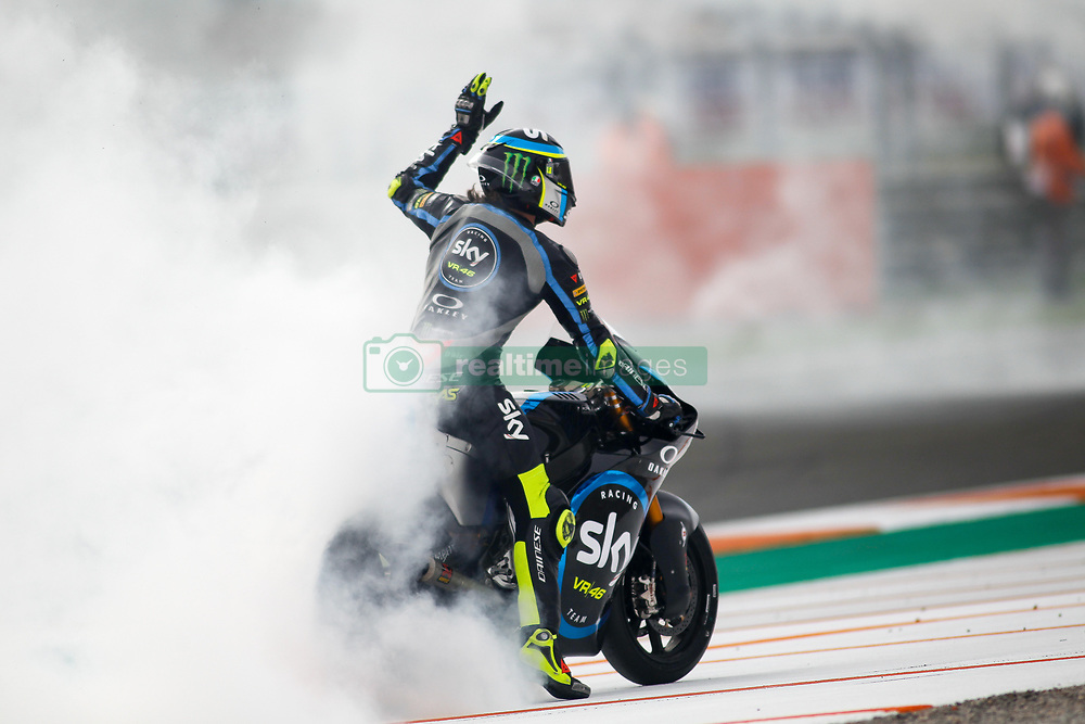 November 17, 2019, Cheste, VALENCIA, SPAIN: Nicolo Bulega, rider of SKY Racing Team VR46 from Italy, after the MotoGP Race of the Valencia Grand Prix of MotoGP World Championship celebrated at Circuit Ricardo Tormo on November 16, 2019, in Cheste, Spain. (Credit Image: © AFP7 via ZUMA Wire)