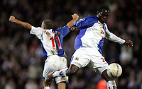 Photo: Paul Thomas.<br /> Blackburn Rovers v Arsenal. The FA Cup. 28/02/2007.c<br /> <br /> Christopher Samba (R) of Blackburn celebrates the final whistle by kicking the ball into the stands, while team-mate David Bentley runs around.