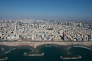 Aerial Photography of beach front of Tel Aviv, Israel. The artificial breakwater can be seen