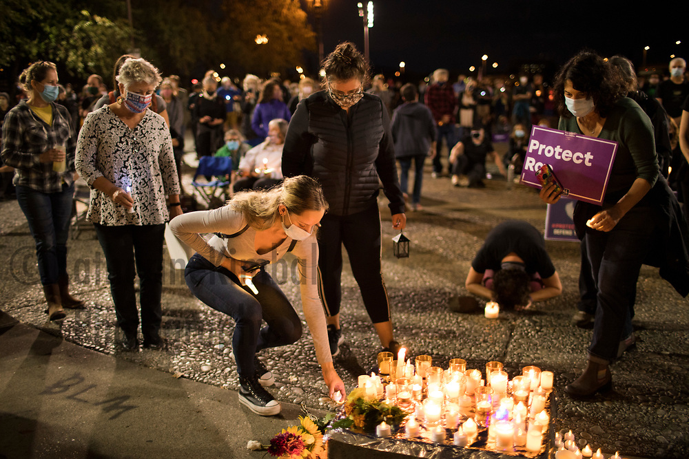 """Almost 300 people gathered in Portland Oregon on Saturday evening to mourn the death of Surpreme Court Justice Ruth Bader Ginsburg in an event titled, """"Ruthlessly Vigil, A Candlelight Memorial for RBG"""" on September 19, 2020 one day after Justice Ginsburg died. She was 87 years old."""