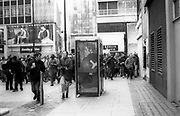 Protesters running from the police on a 1st of May riot in London, UK.
