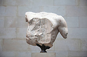 The British Museum, London. Parthenon sculptures of Ancient Greece. These fragments are known as the Elgin Marbles.