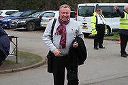 AFC Wimbledon manager Wally Downes arriving during the The FA Cup 5th round match between AFC Wimbledon and Millwall at the Cherry Red Records Stadium, Kingston, England on 16 February 2019.