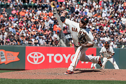 June 3, 2018 - San Francisco, CA, U.S. - SAN FRANCISCO, CA - JUNE 03: San Francisco Giants Pitcher Reyes Moronta (54) pitches in relief during the MLB game between the Philadelphia Phillies and San Francisco Giants on June 3, 2018, at AT&T Park in San Francisco, CA. (Photo by Bob Kupbens/Icon Sportswire) (Credit Image: © Bob Kupbens/Icon SMI via ZUMA Press)