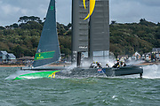 SailGP Team Australia rounding the top mark in race one. Race Day. Event 4 Season 1 SailGP event in Cowes, Isle of Wight, England, United Kingdom. 11 August 2019: Photo Chris Cameron for SailGP. Handout image supplied by SailGP