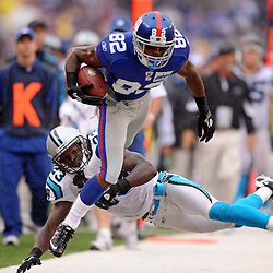 Carolina Panthers safety Sherrod Martin (23) catches New York Giants wide receiver Mario Manningham (82) on a long catch and run during second half NFL action in the New York Giants' 31-18 victory over the Carolina Panthers at New Meadowlands Stadium in East Rutherford, New Jersey.