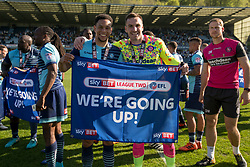 Free to use courtesy of Sky Bet, Players celebrate being promoted to League One - Mandatory by-line: Jason Brown/JMP - 05/05/2018 - FOOTBALL - Adam's Park - High Wycombe, England - Wycombe Wanderers v Stevenage - Sky Bet League Two