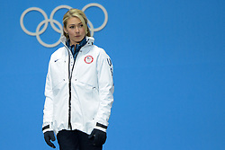 February 15, 2018 - Pyeongchang, South Korea - MIKAELA SHIFFRIN of the United States during the medals ceremony for the Ladies' Giant Slalom event In the PyeongChang Olympic games. (Credit Image: © Christopher Levy via ZUMA Wire)