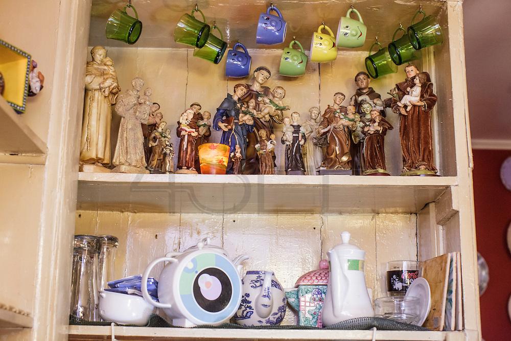 "A detail of Saint Anthonys collection at ""Bela - Vinhos e Petiscos"" bar in Alfama district in Lisbon."