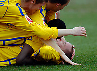 Photo: Daniel Hambury.<br />Brighton & Hove Albion v Leicester City. Coca Cola Championship. 11/02/2006.<br />Leicester's Iain Hume is mobbed after scoring his sides second goal.