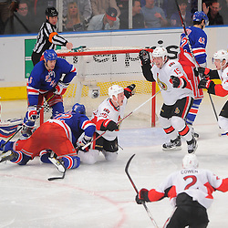 April 14, 2012: Ottawa Senators right wing Chris Neil (25) celebrates his game winning goal during overtime action in Game 2 of the NHL Eastern Conference Quarter-finals between the Ottawa Senators and New York Rangers at Madison Square Garden in New York, N.Y.