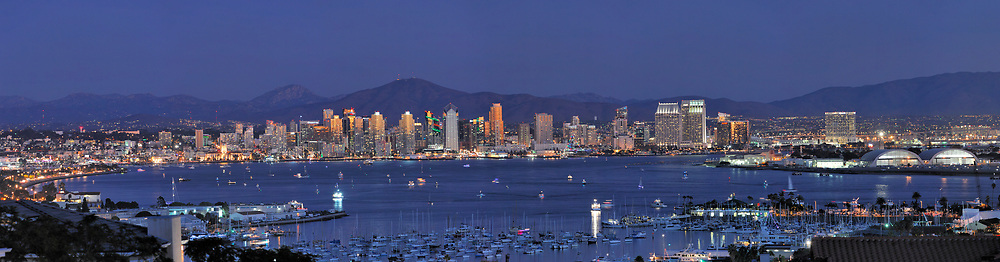 Downtown San Diego skyline and harbor at dusk, as viewed from the northwest. <br /> <br /> Panoramic available up to 15340 x 4012.