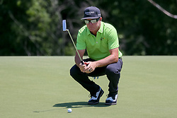 May 18, 2018 - Dallas, TX, U.S. - DALLAS, TX - MAY 18: Brian Gay of the United States lines up his putt on #17 during the second round of the 50th anniversary AT&T Byron Nelson on May 18, 2018 at Trinity Forest Golf Club in Dallas, TX.  (Photo by Andrew Dieb/Icon Sportswire) (Credit Image: © Andrew Dieb/Icon SMI via ZUMA Press)
