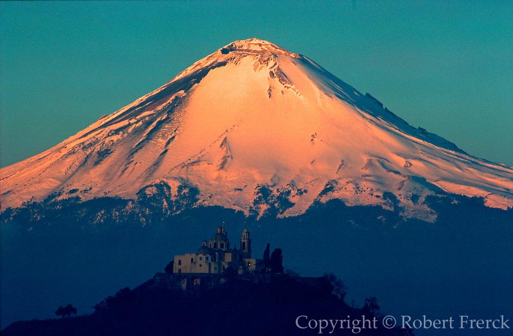 MEXICO, LANDSCAPE Popocatepetl and Cholula Pyramid