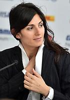 """Press Conference<br /> """"Challenges and opportunities in <br /> urban mobility""""<br /> Virginia Raggi, Mayor of Rome<br /> Roma 13- 04-2018 Palazzo dei Congressi<br /> Roma E  Prix 2018 / Formula E Championship<br /> Foto Antonietta Baldassarre Insidefoto"""