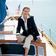 Nicole is enjoying the calm waters on the Miami bay on a georgeous sailboat.