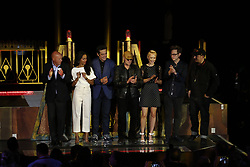ANAHEIM, CA - MAY 25: (L-R) Chairman of Walt Disney Parks and Resorts, Bob Chapek, Zoe Saldana,Benicio del Toro Michael Rooker, Pom Klementieff, James Gunn, writer of Guardians of the Galaxy attend Guardians for the Galaxy: Mission – BREAKOUT! Grand Opening Ceremony attraction on May 25, 2017 at the Disneyland Resort in Anaheim, California USA. Byline, credit, TV usage, web usage or link back must read SILVEXPHOTO.COM. Failure to byline correctly will incur double the agreed fee. Tel: +1 714 504 6870.