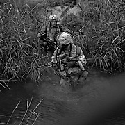 Jul 29, 2008 - Zhari District, Kandahar Province, Afghanistan - Canadian soldiers cross a river after a fire fight in the Makuan area in Zhari District, Kandahar Province, Afghanistan..(Credit Image: © Louie Palu/ZUMA Press)