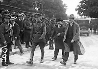 From right: Michael Collins, Arthur Griffith, and an unidentified National Army officer, 1922 (Part of the Independent Newspapers Ireland/NLI Collection)