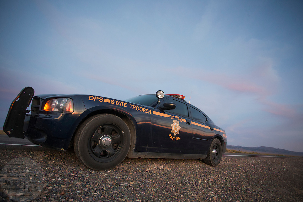 De politiewagen van de Highway Patrol in Battle Mountain, Nevada.<br />